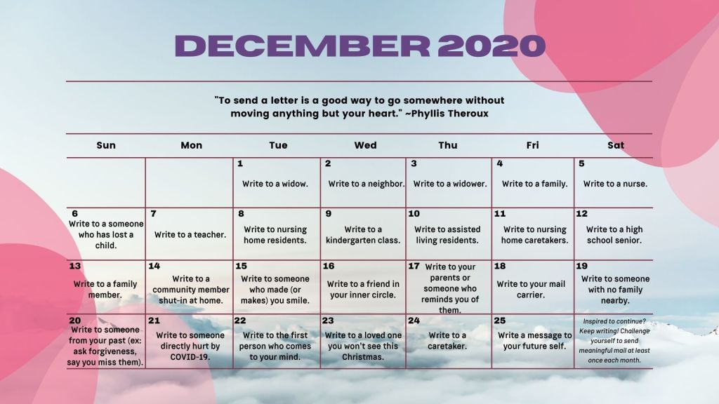An Advent Writing Calendar from The Writing Rancher.